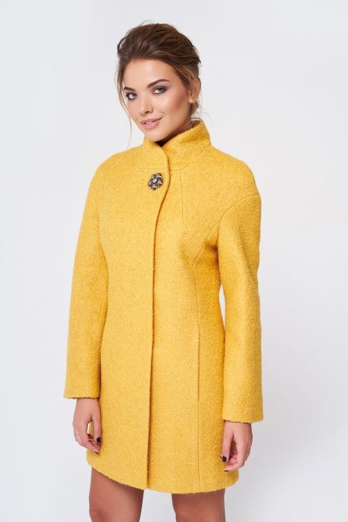 Пальто Меланка, деми, букле, желтый
