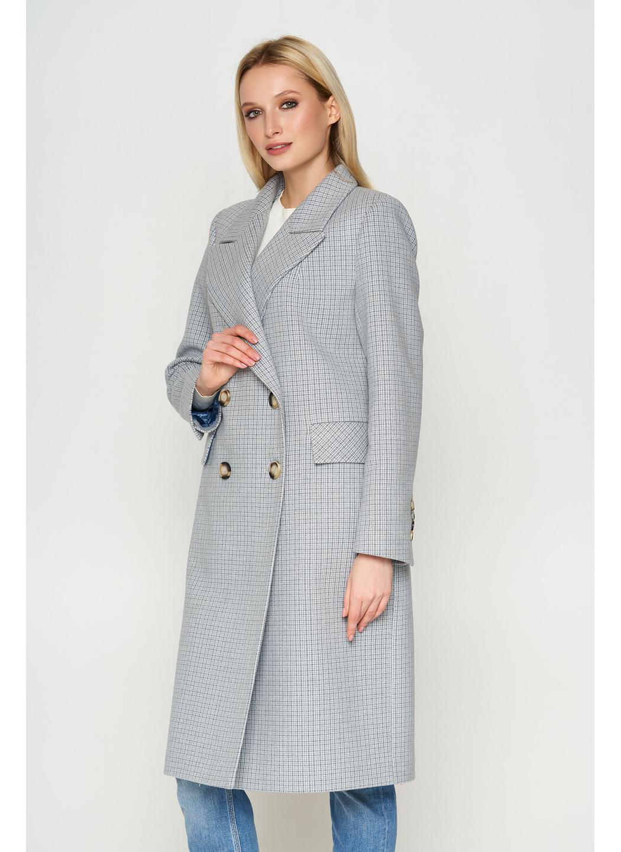 Женское Демисезонное Пальто Монако Кашемир Клетка Серый 8803 Длинное
