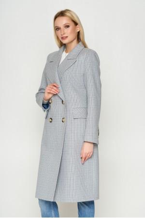 Пальто Монако, деми, клетка, серый 8803
