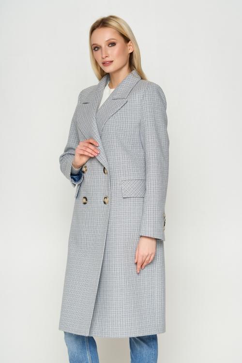 Женское Демисезонное Пальто Монако Кашемир Клетка Светло-серый Длинное