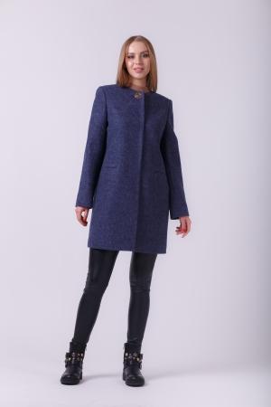Пальто Диана, деми, шерсть, темно-синий