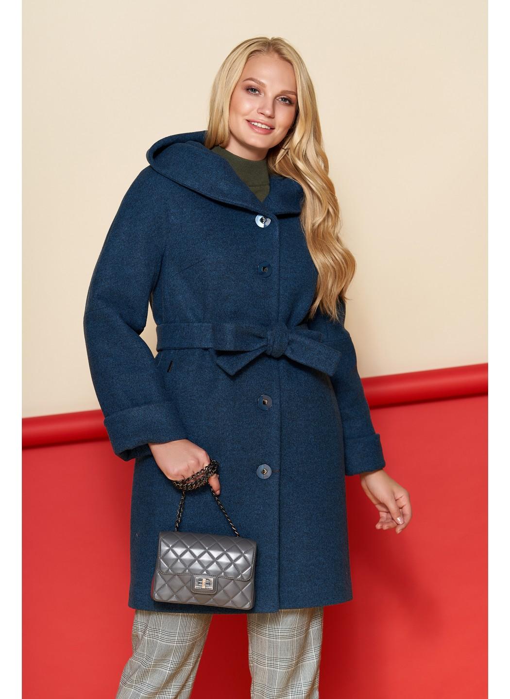 Женское Зимнее Пальто Марго с капюшоном Шерсть Тёмно - синий