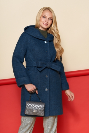 Пальто Марго, зима, шерсть, тёмно - синий