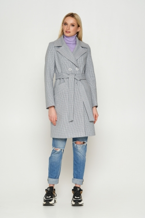 Пальто Нонна, деми, клетка, серый 8803