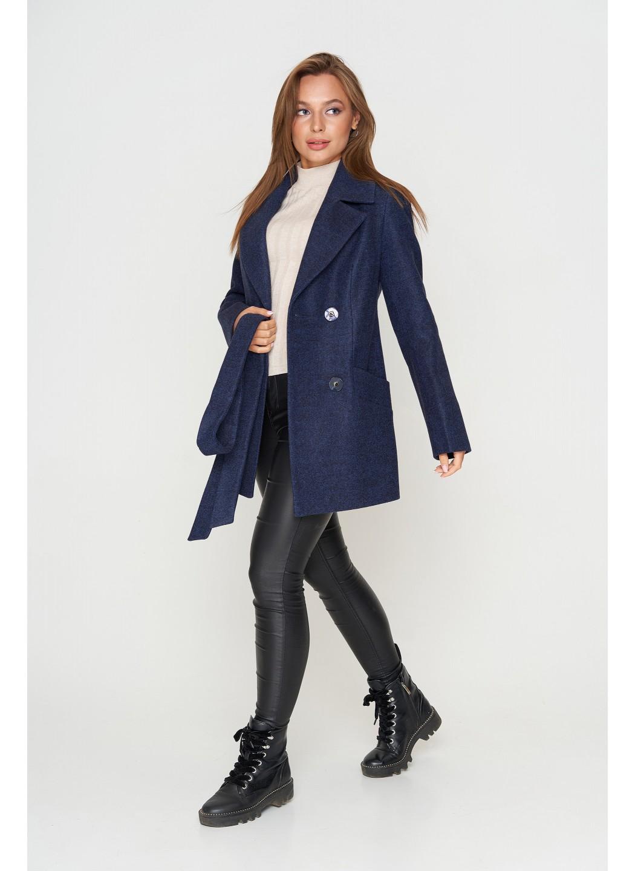 Пальто Алина, деми, шерсть, темно-синий