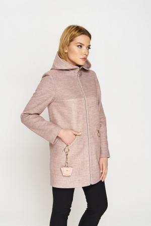 Женское Демисезонное Пальто Кэти с капюшоном Шерсть Пудра
