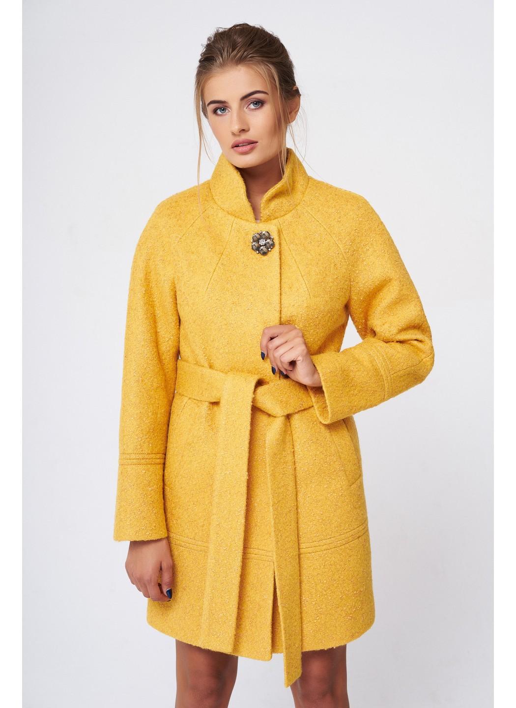 Пальто Иванка, деми, букле, жёлтый