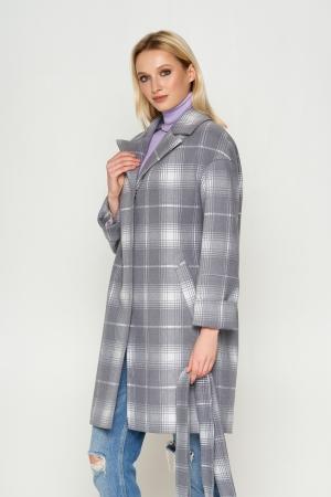 Пальто Окси, деми, клетка, серый 7704