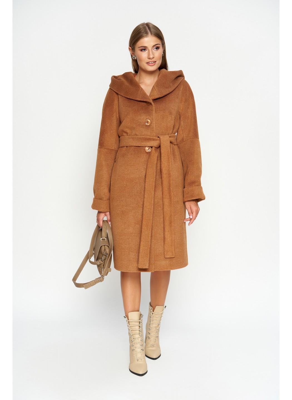 Женское Зимнее Пальто Лора с капюшоном Шерсть Camel купить в Украине: фото, цена, характеристики, отзывы