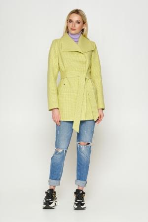 Пальто Лера, деми, клетка, лимонный