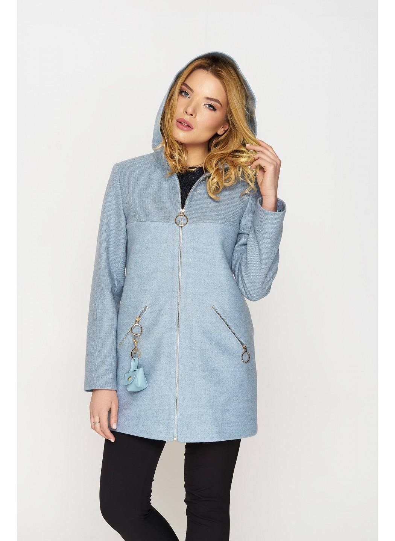 Женское Демисезонное Пальто Кэти с капюшоном Шерсть Голубой купить в Украине: фото, цена, характеристики, отзывы - фото 1