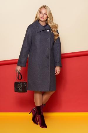 Пальто Лилия, шерсть, зима, фиолетовый