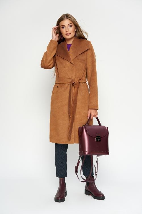 Женское Зимнее Пальто Валерия Шерсть Camel