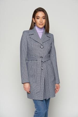 Пальто Влада, деми, клетка, темно-синий