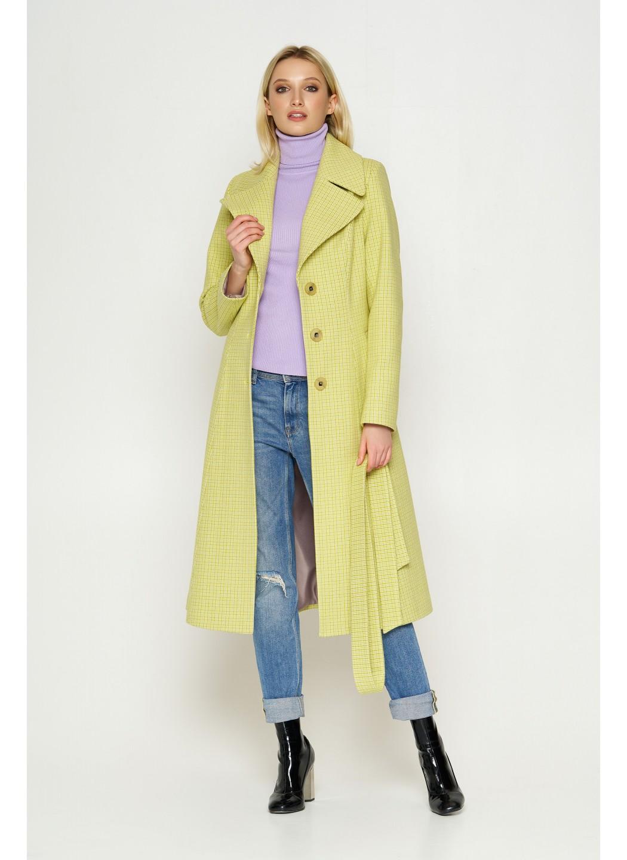 Пальто Элина, деми, клетка, лимонный 8817