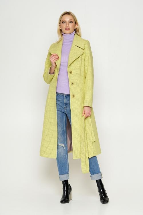 Пальто Элина, деми, клетка, лимонный