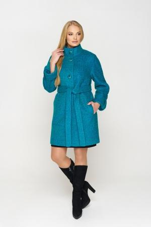 Пальто Шарлотта, зима, букле, бирюза