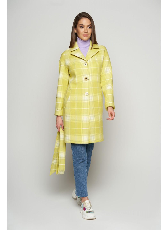 Женское Демисезонное Пальто Окси Кашемир Клетка Лимонный купить в Украине: фото, цена, характеристики, отзывы - фото 3