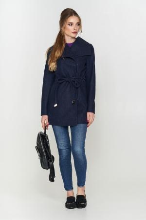 Пальто Мадрид, деми, шерсть, темно-синий