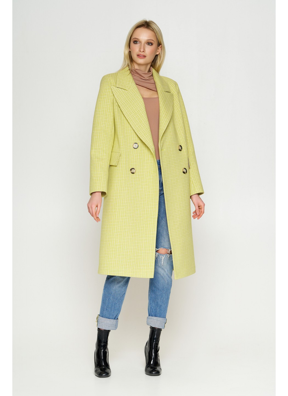 Пальто Монако, деми, клетка, лимонный 8817