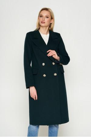 Пальто Монако, деми, кашемир, темно-зеленый