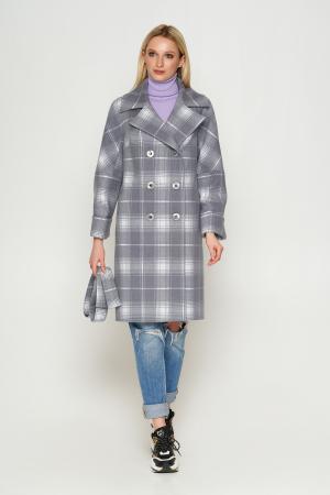 Пальто Амелия, деми, клетка, серый 7704