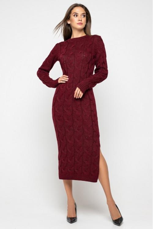 Женское Вязаное Платье Эвелина Бордо