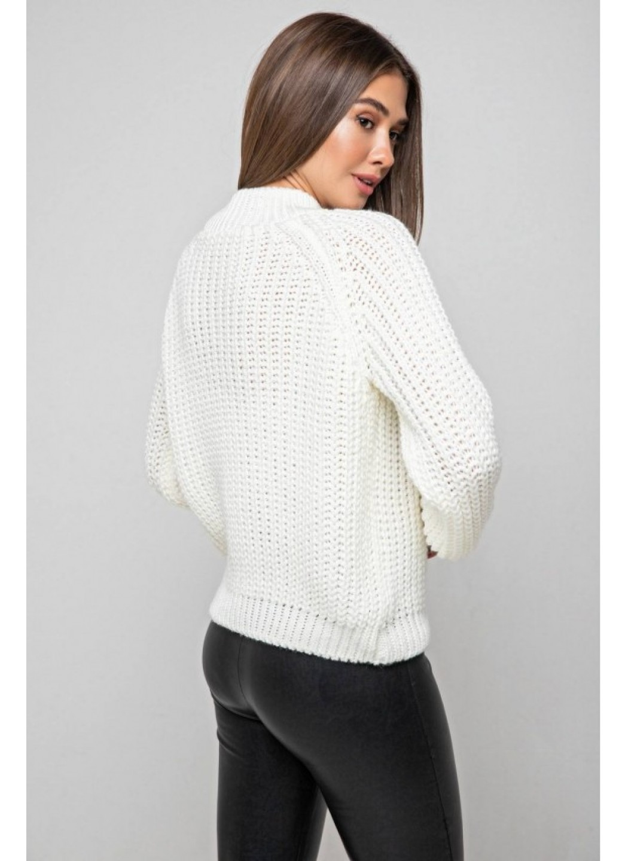 Вязаный свитер «Злата» с люрексом - молочный