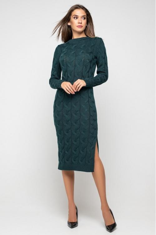 Женское Вязаное Платье Эвелина Зеленый