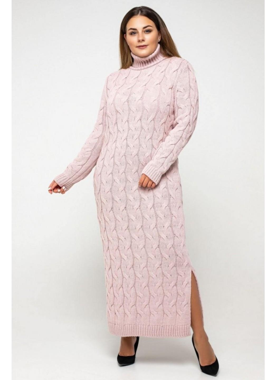 "Вязаное платье ""Ангелина""- пудра - Size+"
