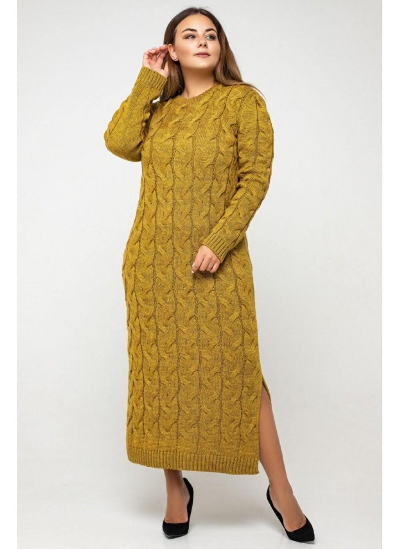 Женское Вязаное Платье Эвелина Горчица Size+ купить в Украине: фото, цена, характеристики, отзывы - фото 3
