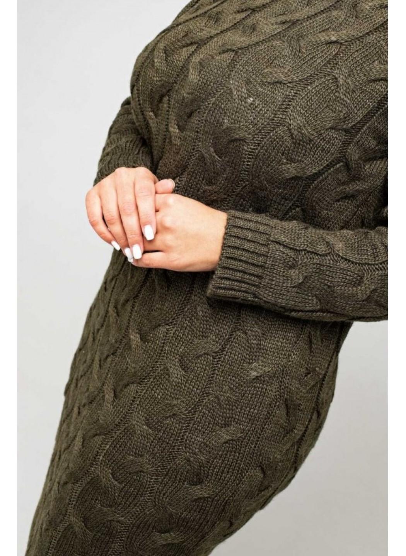Женское Вязаное платье Сабрина Табак Size+ купить в Украине: фото, цена, характеристики, отзывы - фото 1