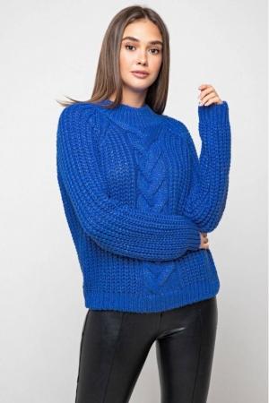 Вязаный свитер «Злата» с люрексом - электрик