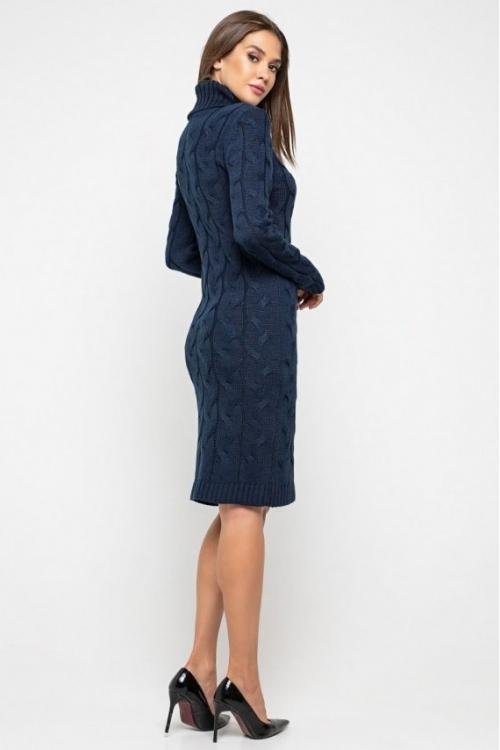 Женское Вязаное платье Сабрина Темно-синий