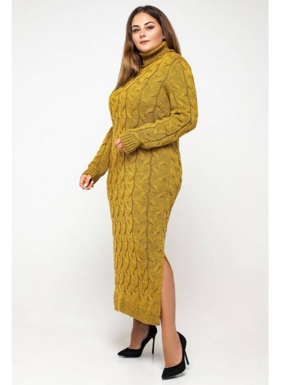 Женское Вязаное платье Ангелина Горчица Size+ купить в Украине: фото, цена, характеристики, отзывы - фото 3