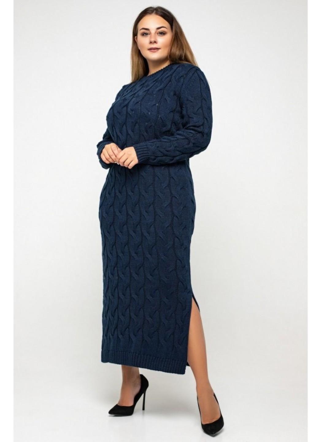 Женское Вязаное Платье Эвелина Темно-синий Size+ купить в Украине: фото, цена, характеристики, отзывы - фото 1