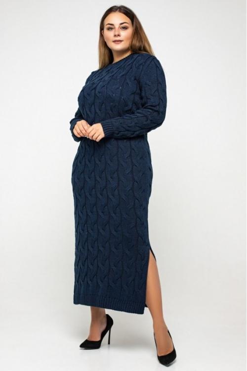 Женское Вязаное Платье Эвелина Темно-синий Size+