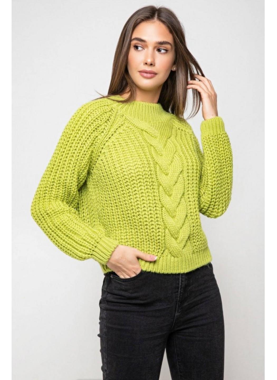 Вязаный свитер «Злата» с люрексом - фисташковый