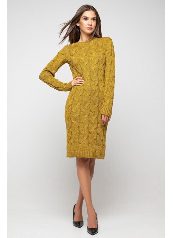 Женское Вязаное Платье Каролина Горчица купить в Украине: фото, цена, характеристики, отзывы - фото 1