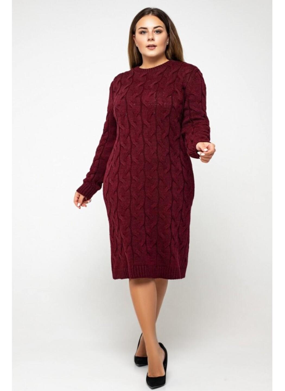 Женское Вязаное Платье Каролина Бордо Size+ купить в Украине: фото, цена, характеристики, отзывы - фото 3