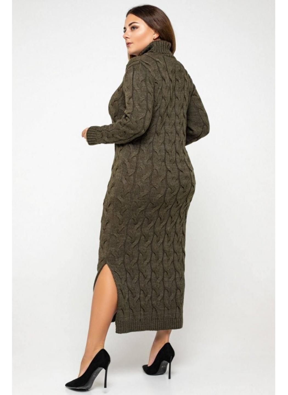 Женское Вязаное платье Ангелина Табак Size+ купить в Украине: фото, цена, характеристики, отзывы - фото 2