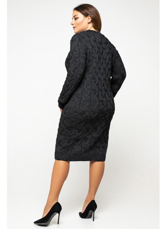 Женское Вязаное Платье Каролина Черный Size+ купить в Украине: фото, цена, характеристики, отзывы - фото 1