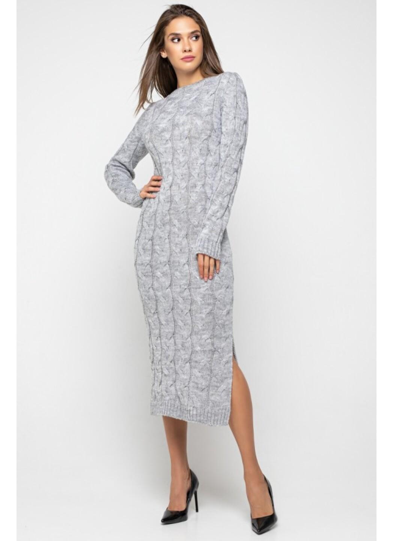 Женское Вязаное Платье Эвелина Светло-серый купить в Украине: фото, цена, характеристики, отзывы - фото 1