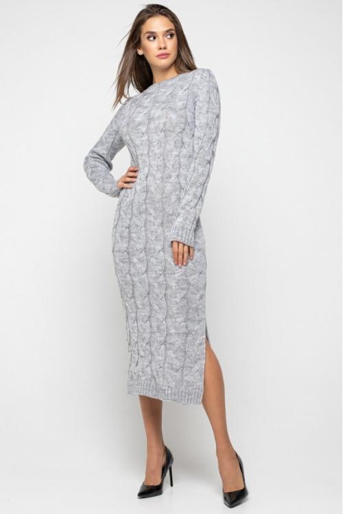 Женское Вязаное Платье Эвелина Светло-серый