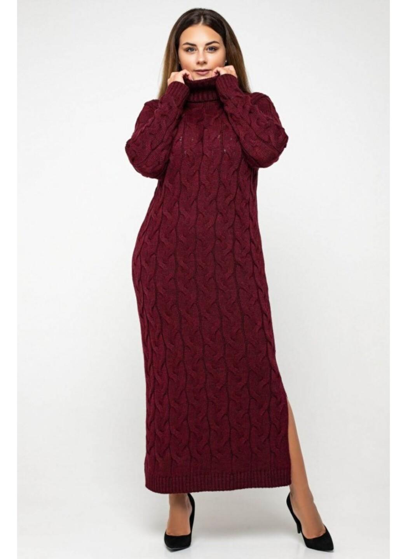 Женское Вязаное платье Ангелина Бордо Size+ купить в Украине: фото, цена, характеристики, отзывы - фото 1