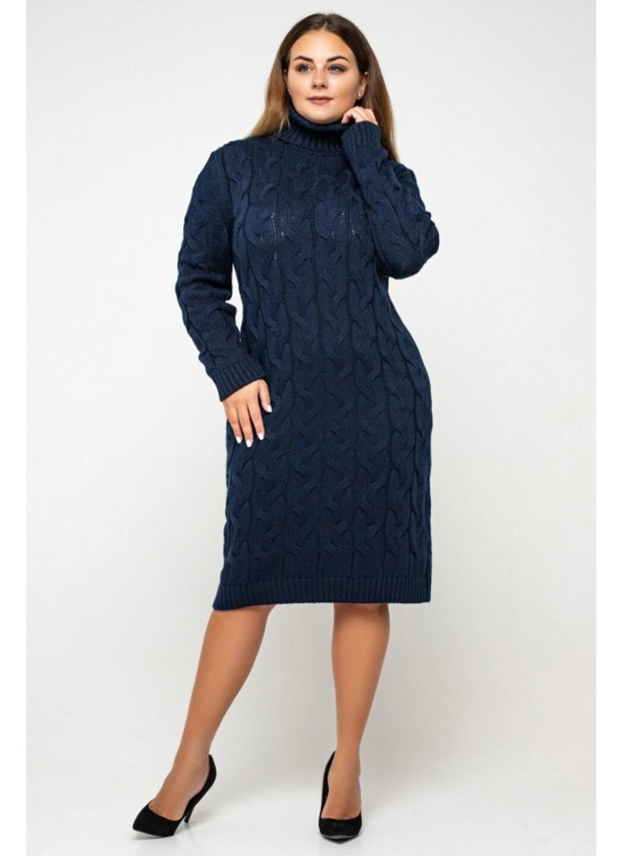 Женское Вязаное платье Сабрина Темно-синий Size+ купить в Украине: фото, цена, характеристики, отзывы - фото 2
