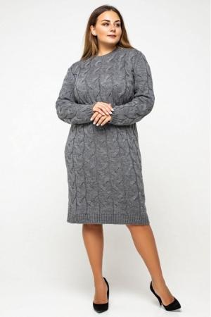 """Вязаное платье """"Каролина""""- темно-серый - Size+"""