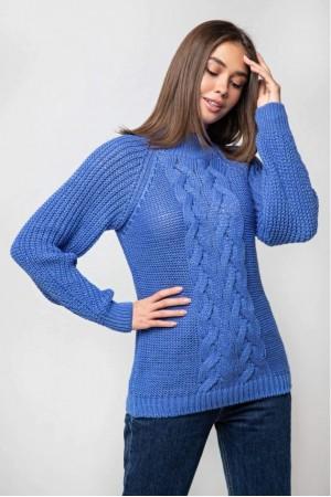 Вязаный свитер «Ника» с люрексом - васильковый