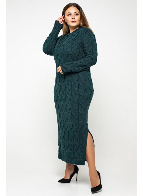 Женское Вязаное Платье Эвелина Зеленый Size+ купить в Украине: фото, цена, характеристики, отзывы - фото 1