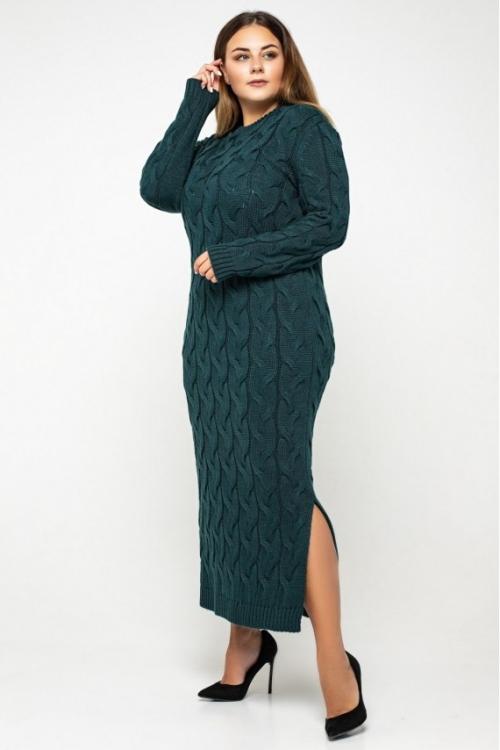 Женское Вязаное Платье Эвелина Зеленый Size+